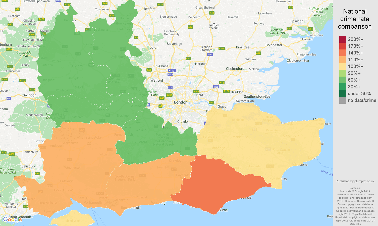 South East possession of weapons crime rate comparison map