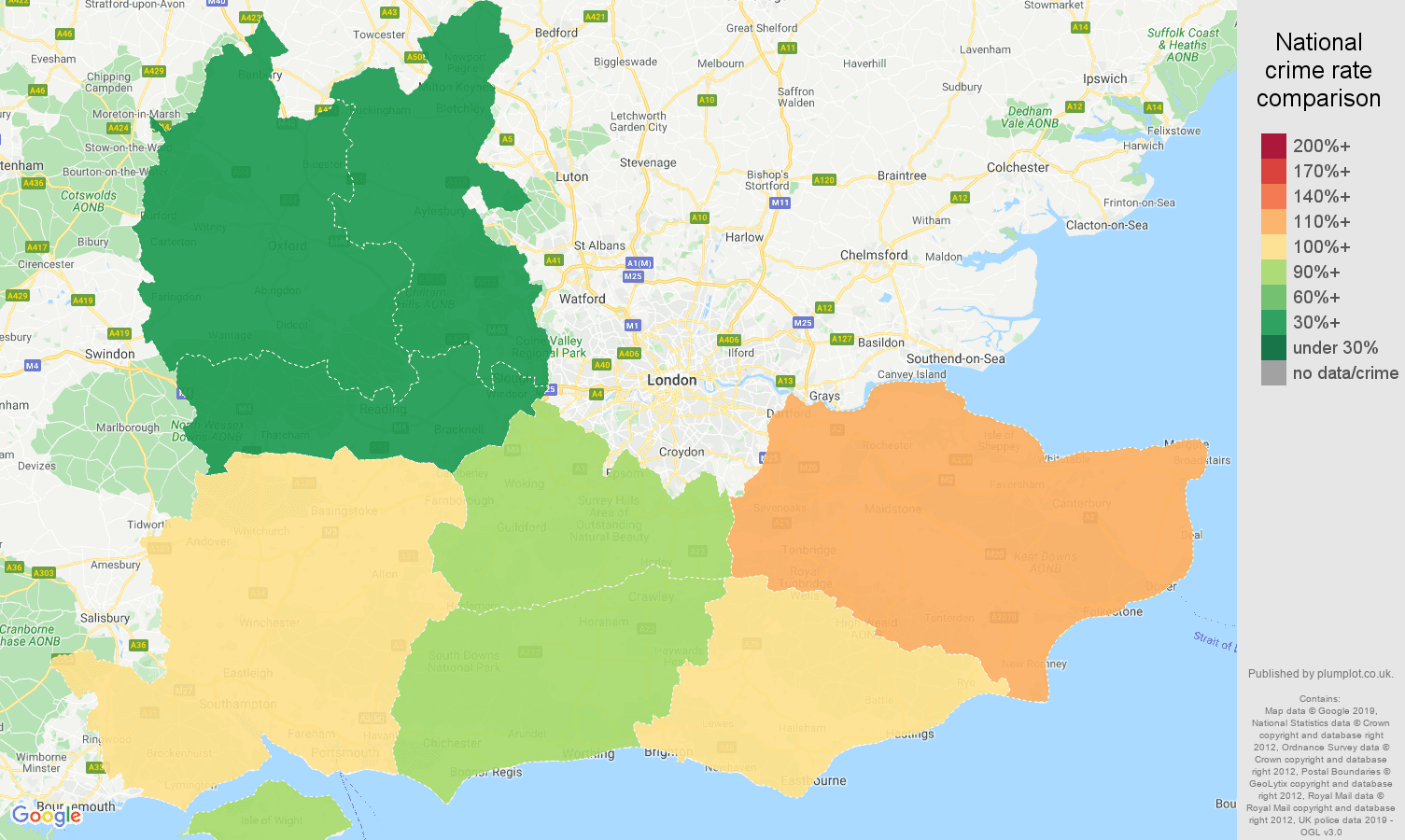 South East public order crime rate comparison map