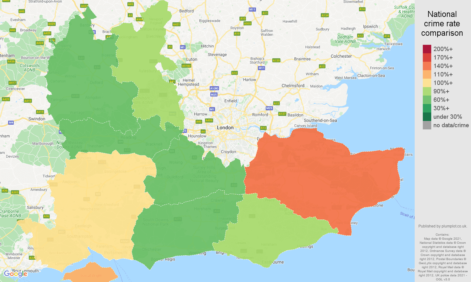 South East violent crime rate comparison map