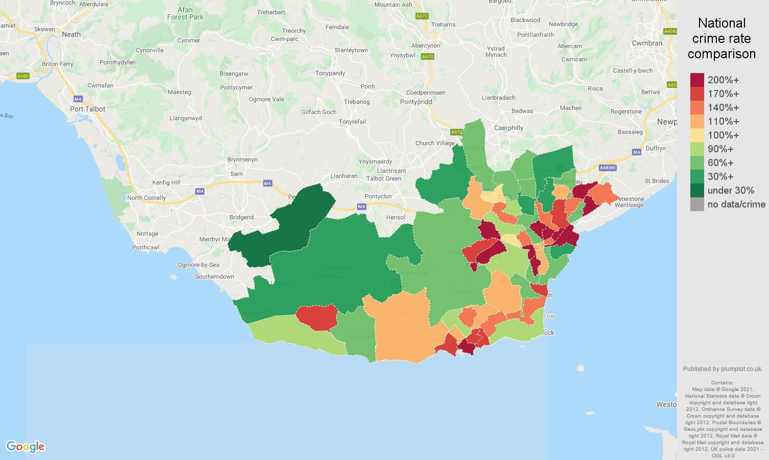 South Glamorgan antisocial behaviour crime rate comparison map