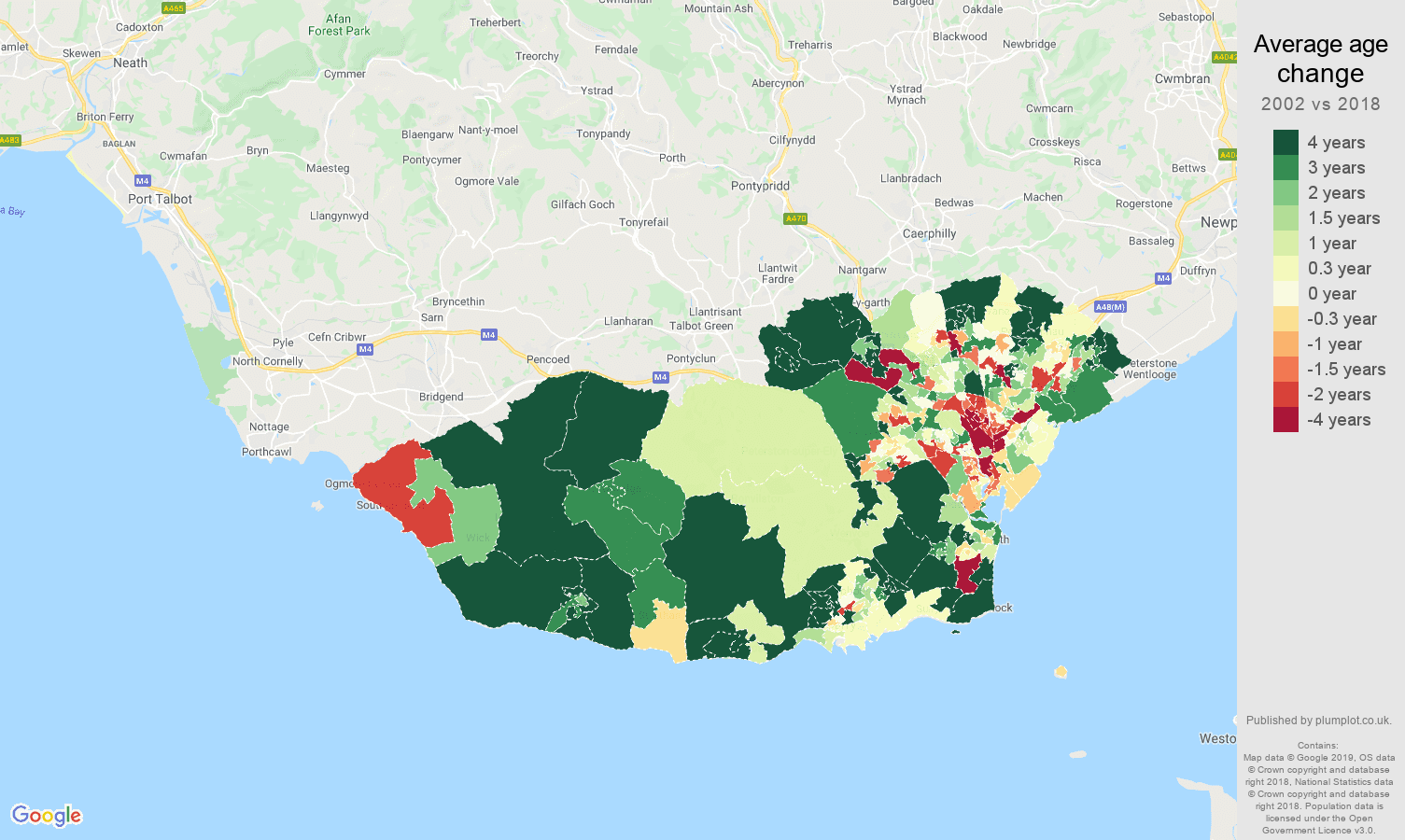 South Glamorgan average age change map