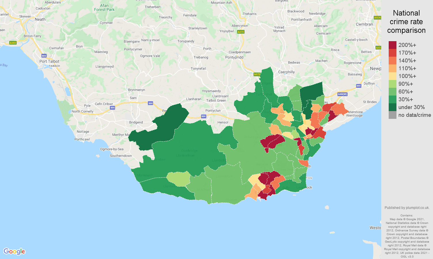South Glamorgan criminal damage and arson crime rate comparison map