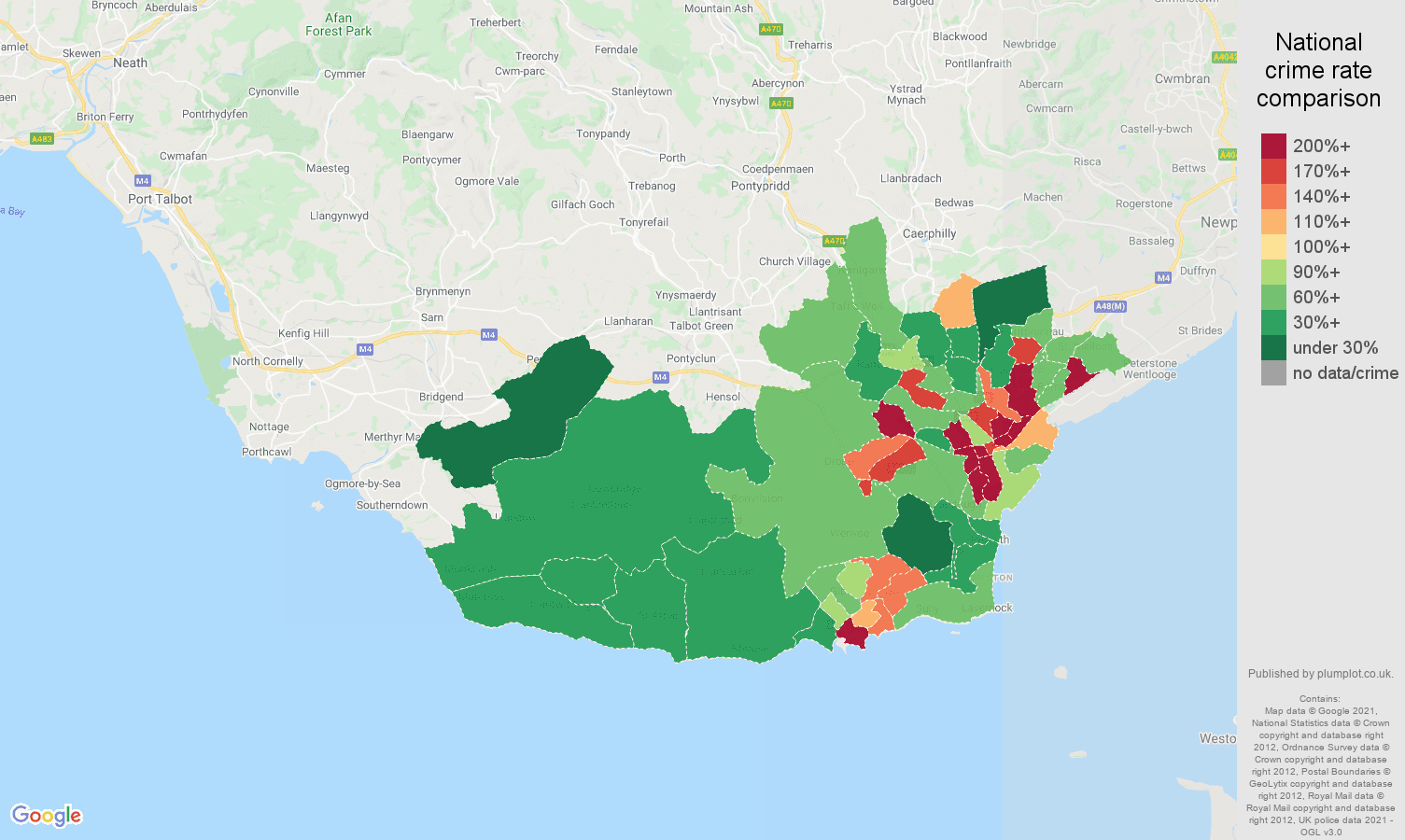 South Glamorgan drugs crime rate comparison map