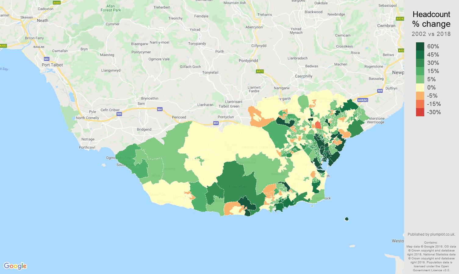 South Glamorgan headcount change map