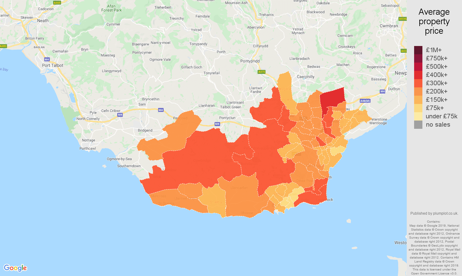 South Glamorgan house prices map