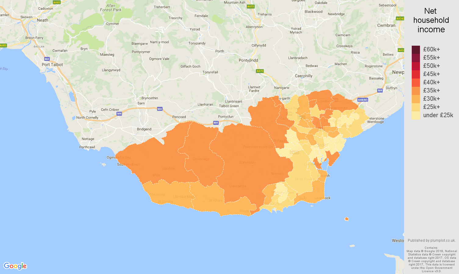 South Glamorgan net household income map
