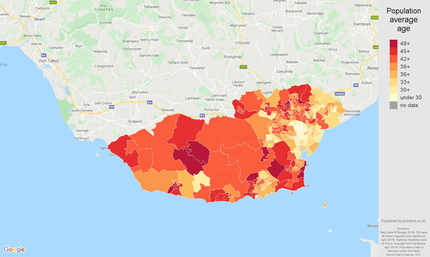 South Glamorgan population average age map
