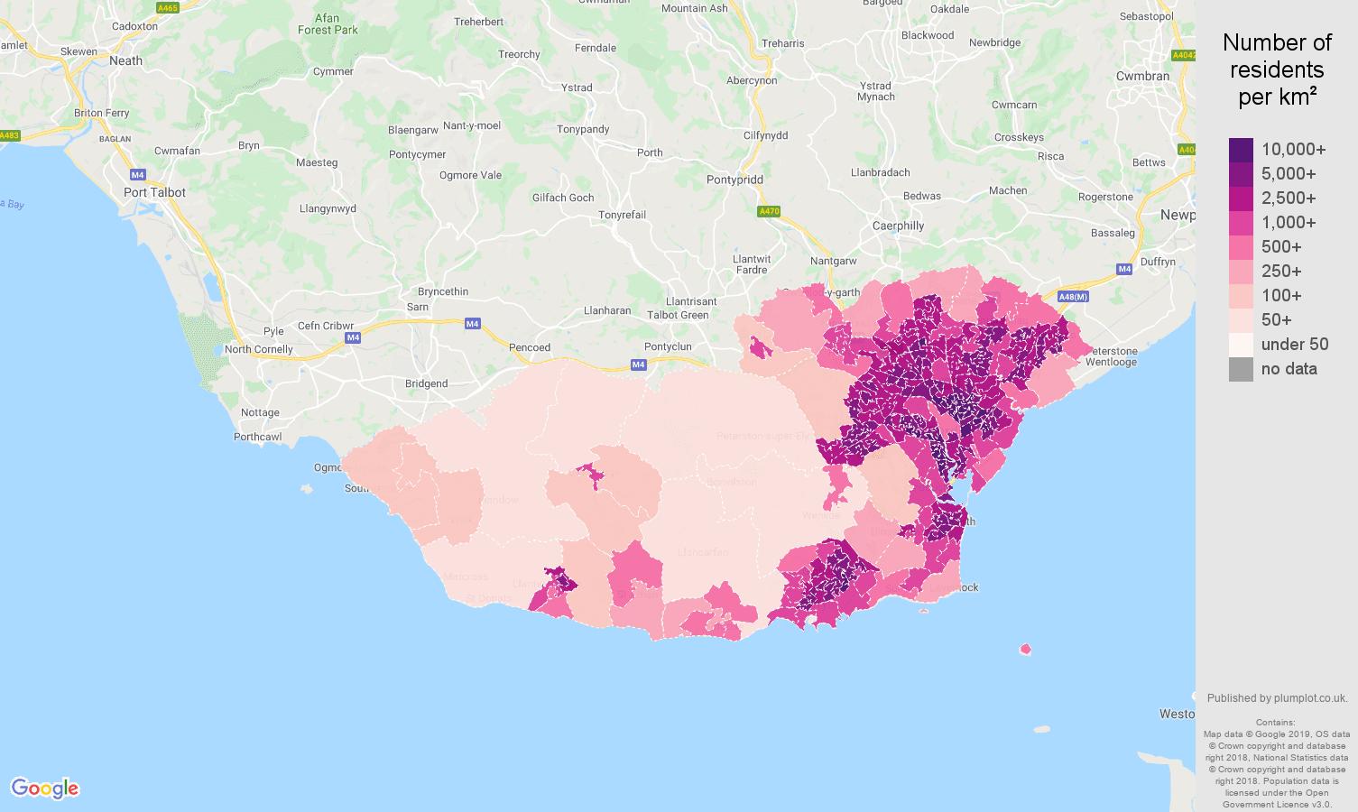 South Glamorgan population density map