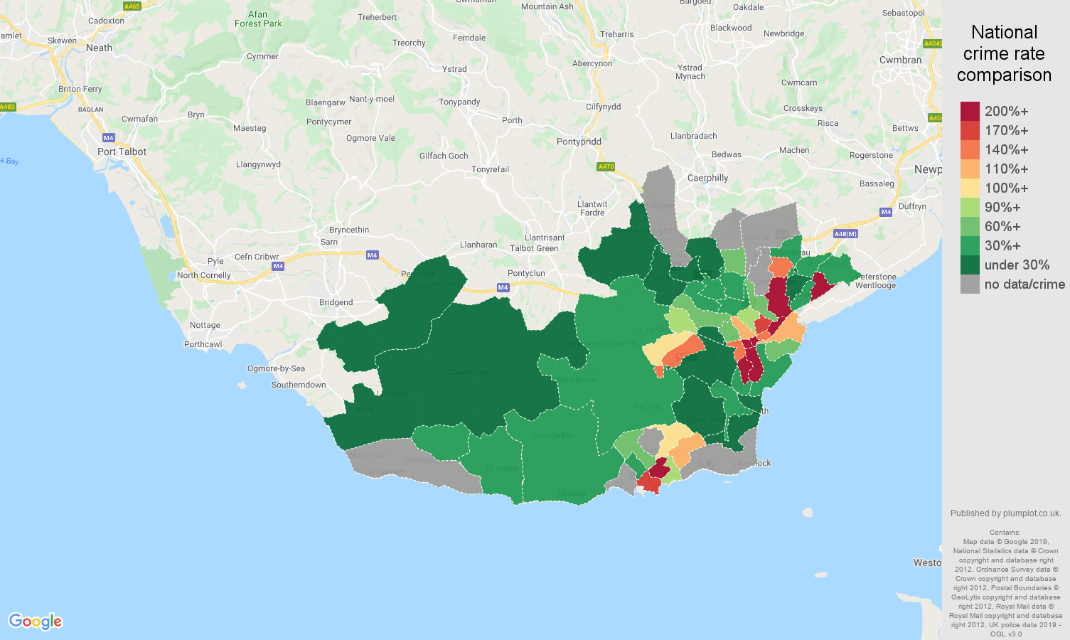 South Glamorgan possession of weapons crime rate comparison map
