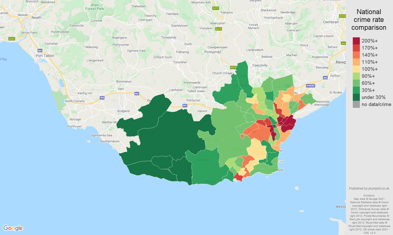 South Glamorgan vehicle crime rate comparison map