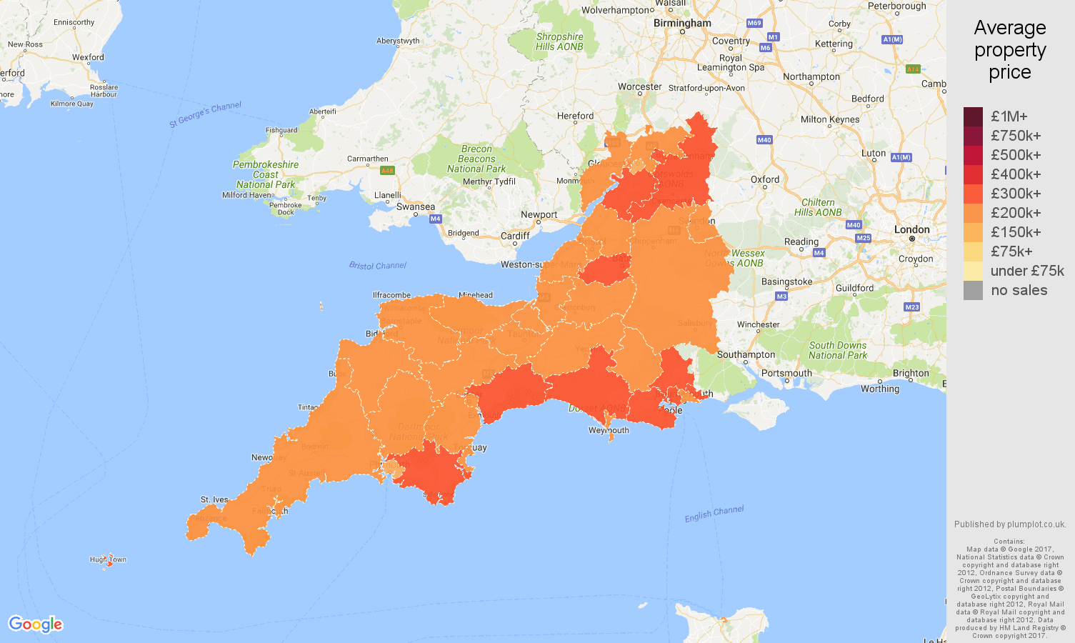 Map Of West Of England.South West England House Prices In Maps And Graphs