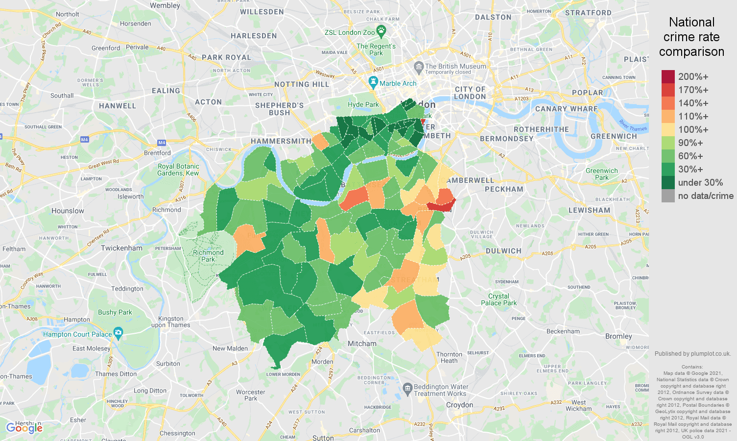 South West London criminal damage and arson crime rate comparison map