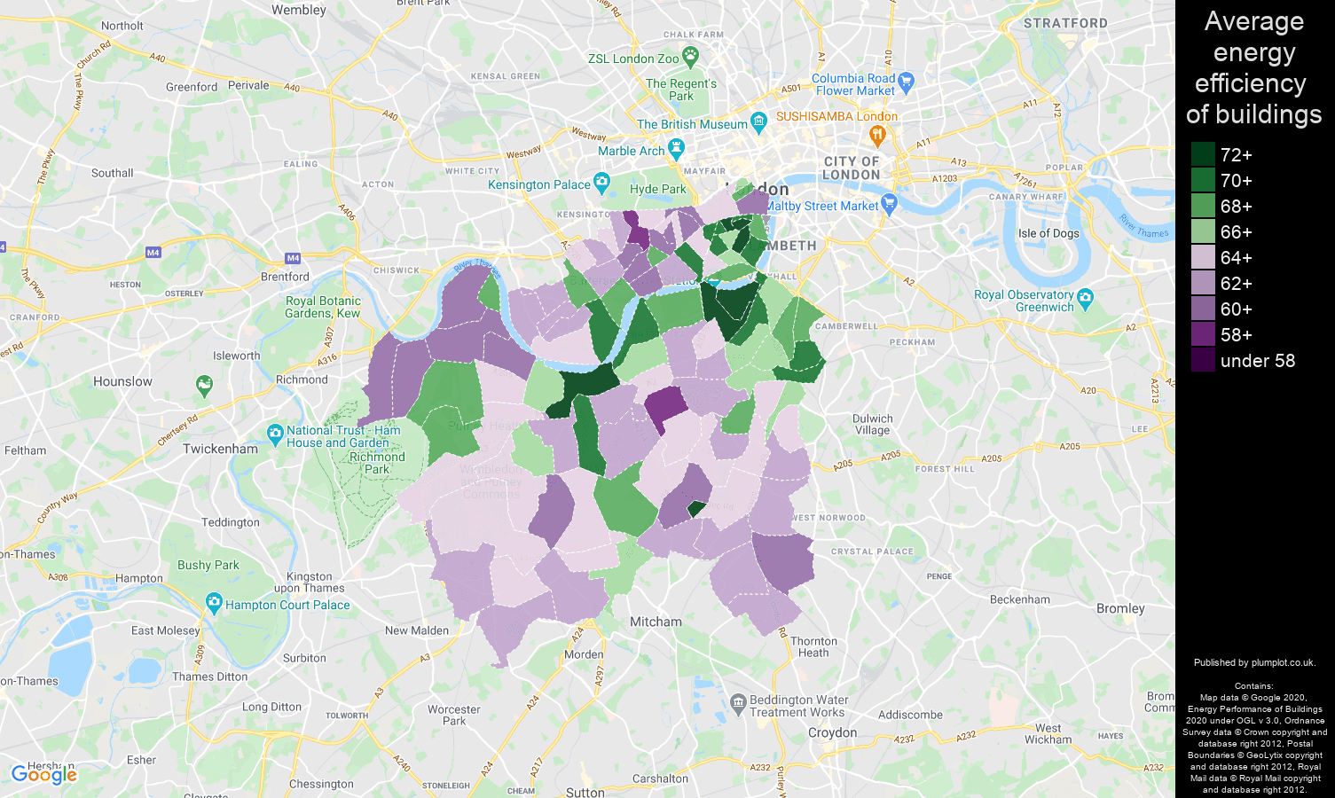 South West London map of energy efficiency of properties