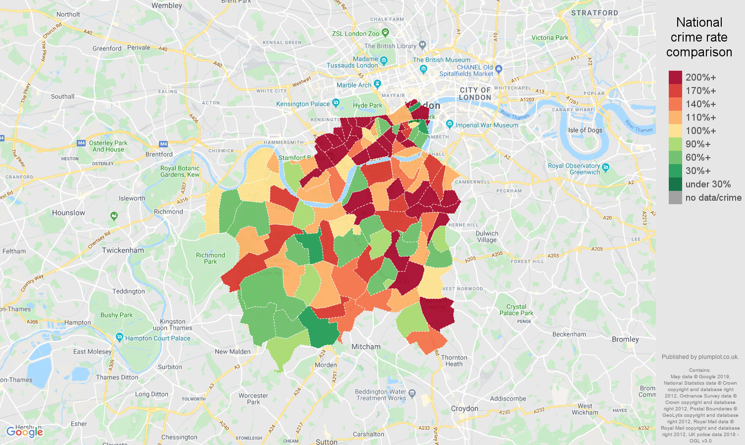 South West London other theft crime rate comparison map