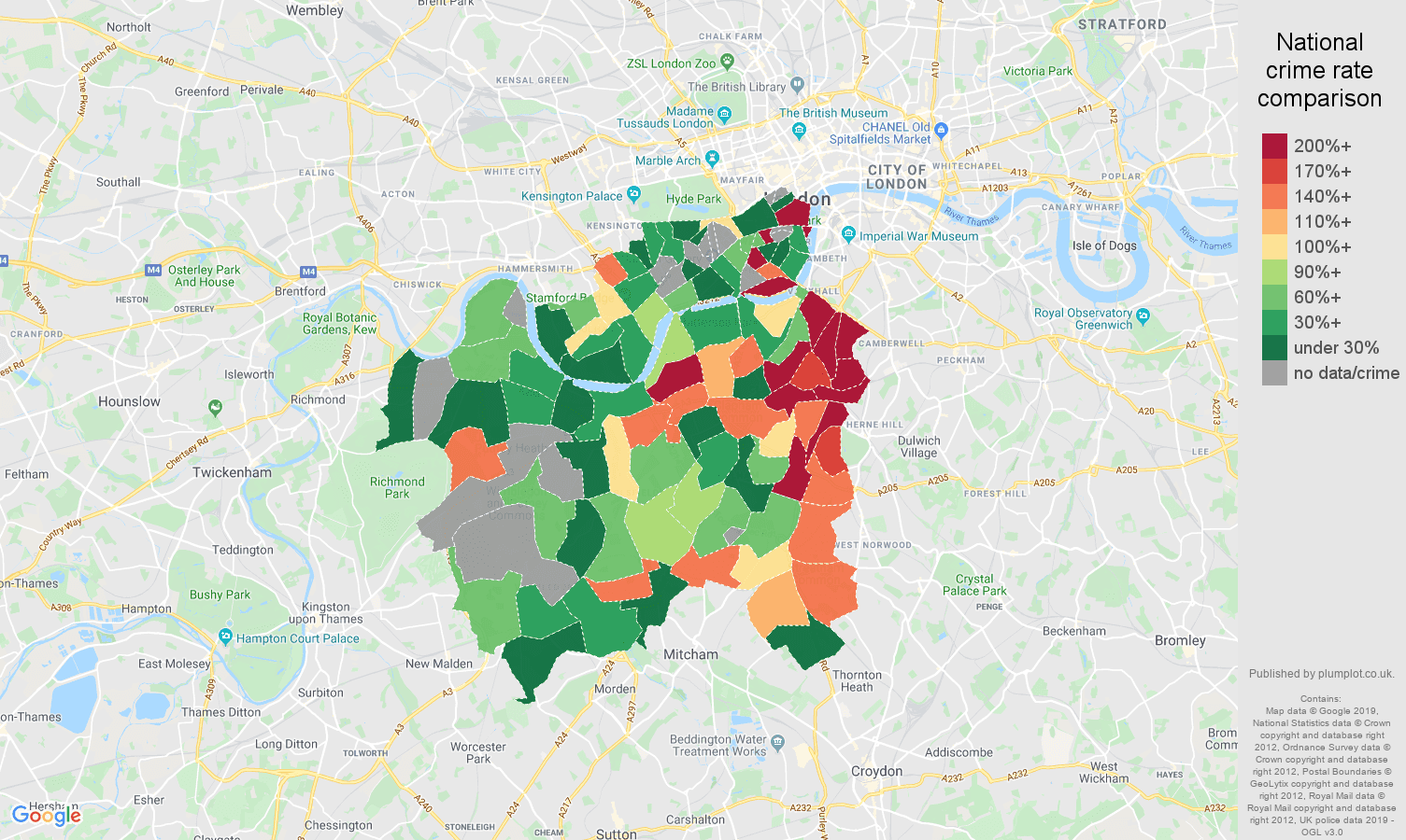 South West London possession of weapons crime rate comparison map