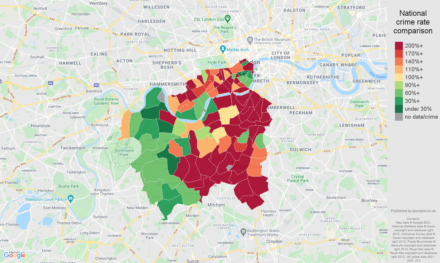 South West London theft from the person crime rate comparison map