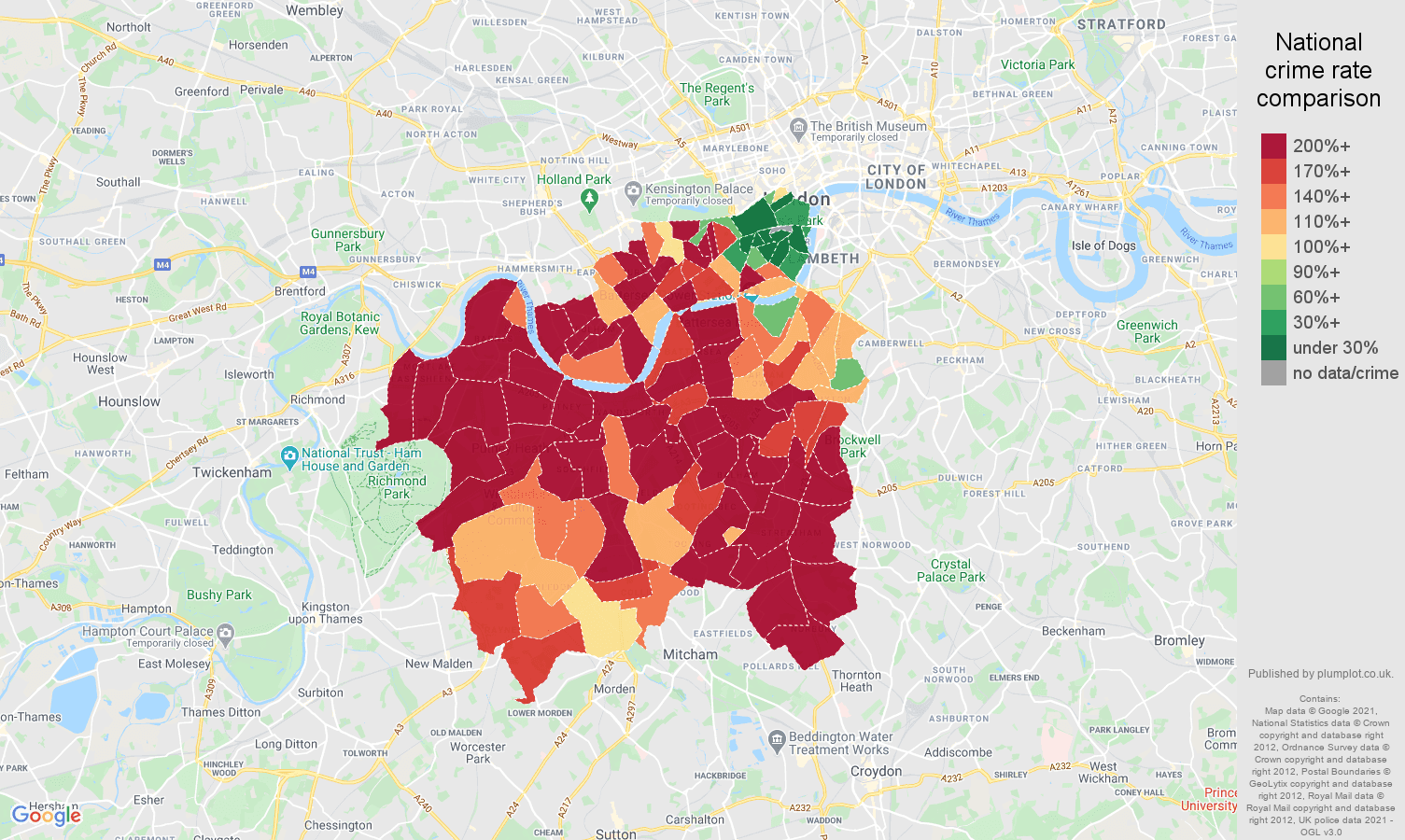 South West London vehicle crime rate comparison map