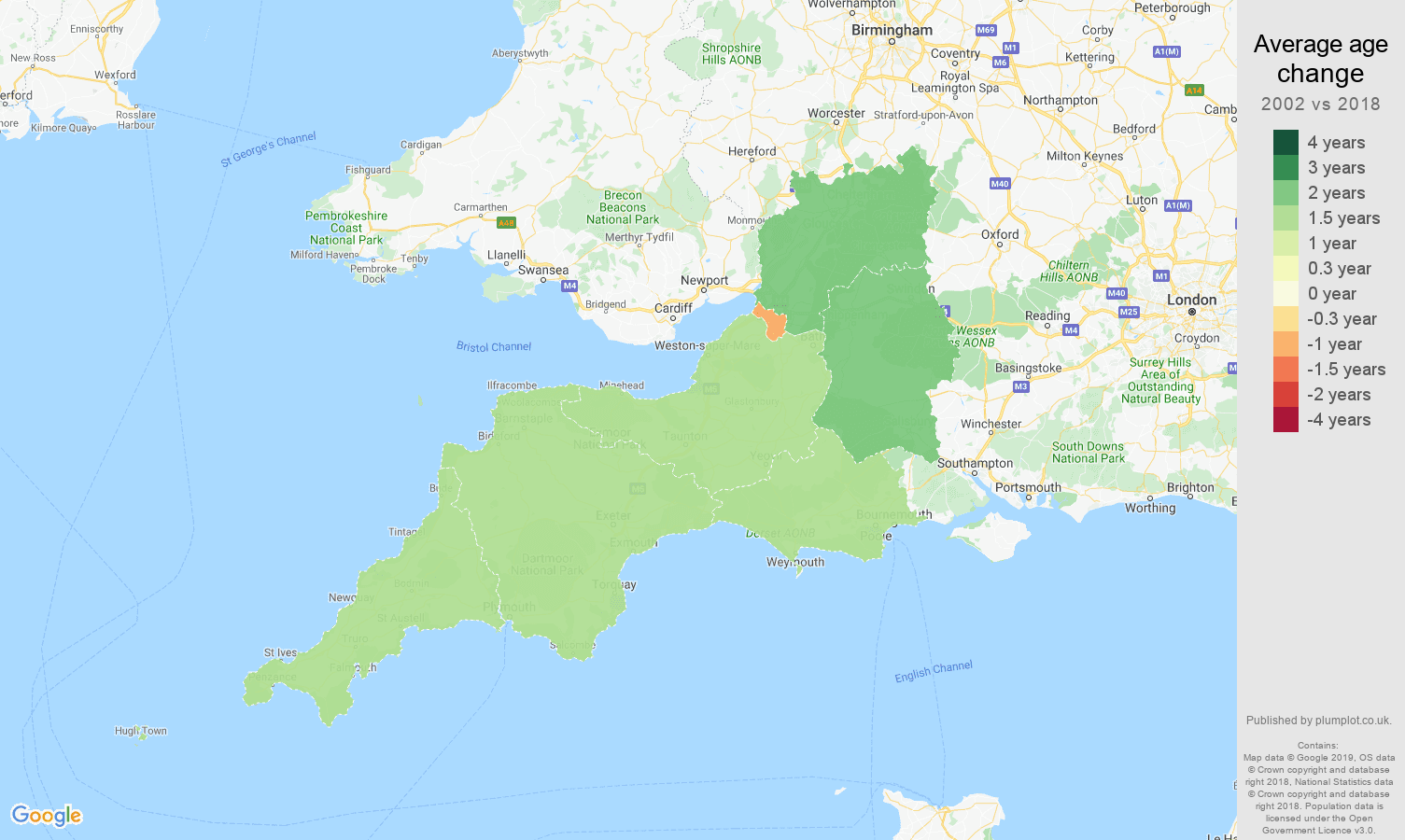 South West average age change map