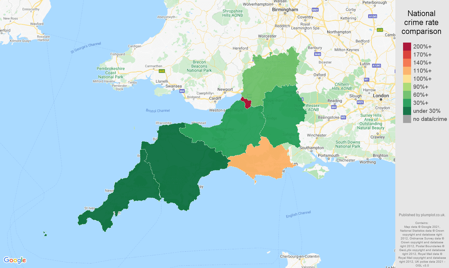 South West bicycle theft crime rate comparison map