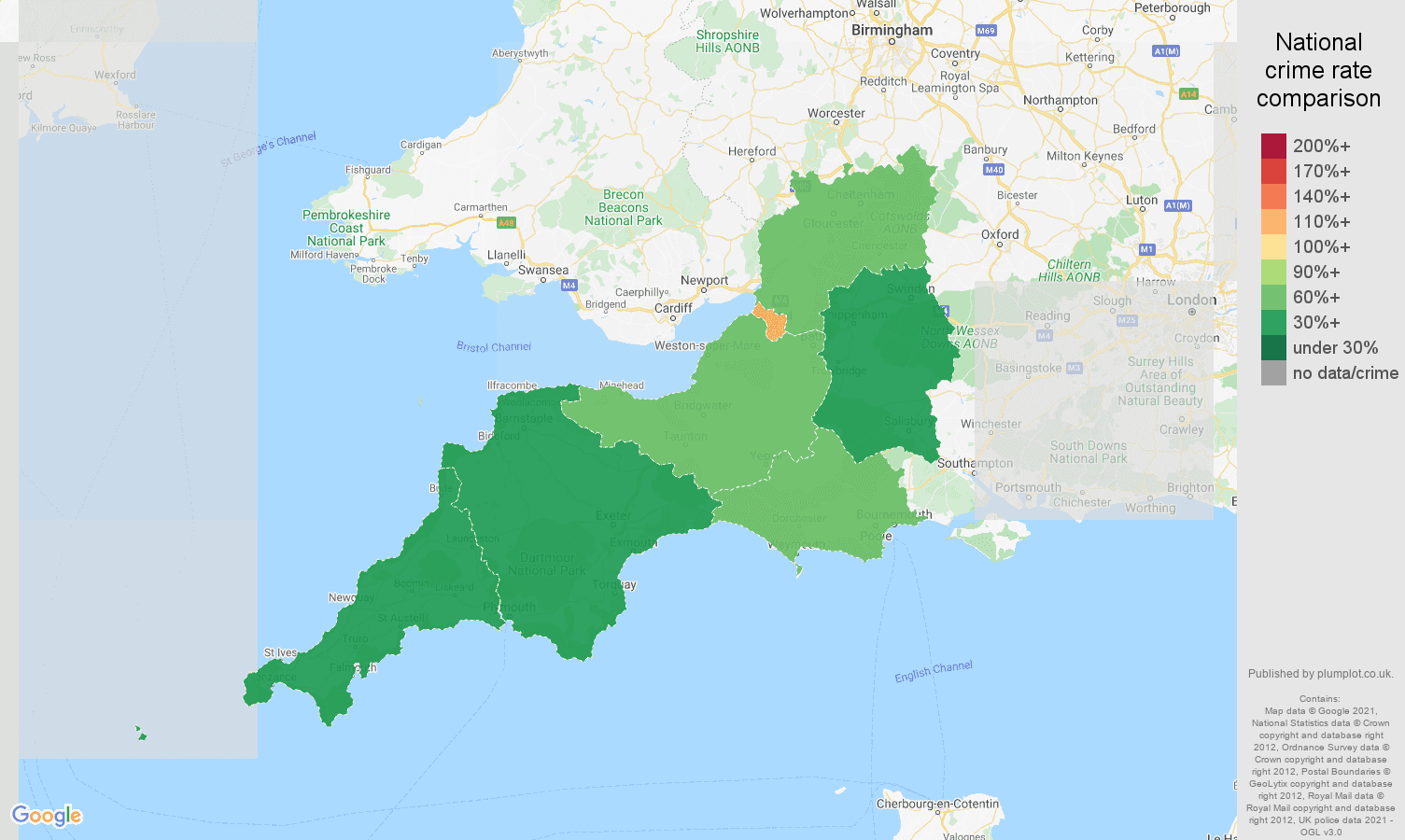 South West burglary crime rate comparison map