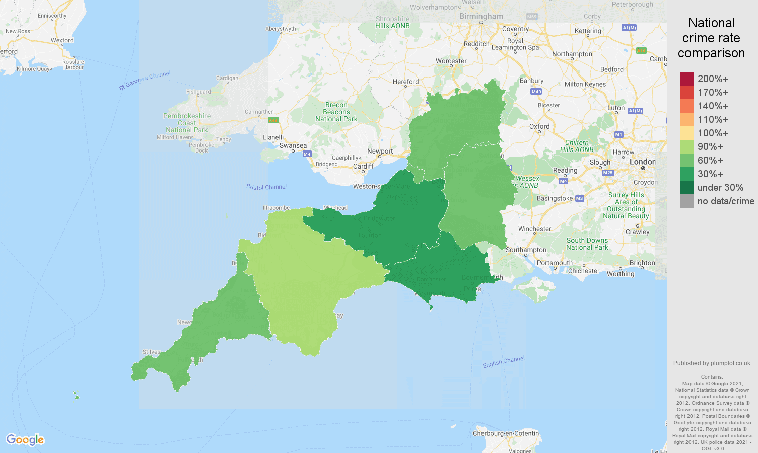 South West drugs crime rate comparison map