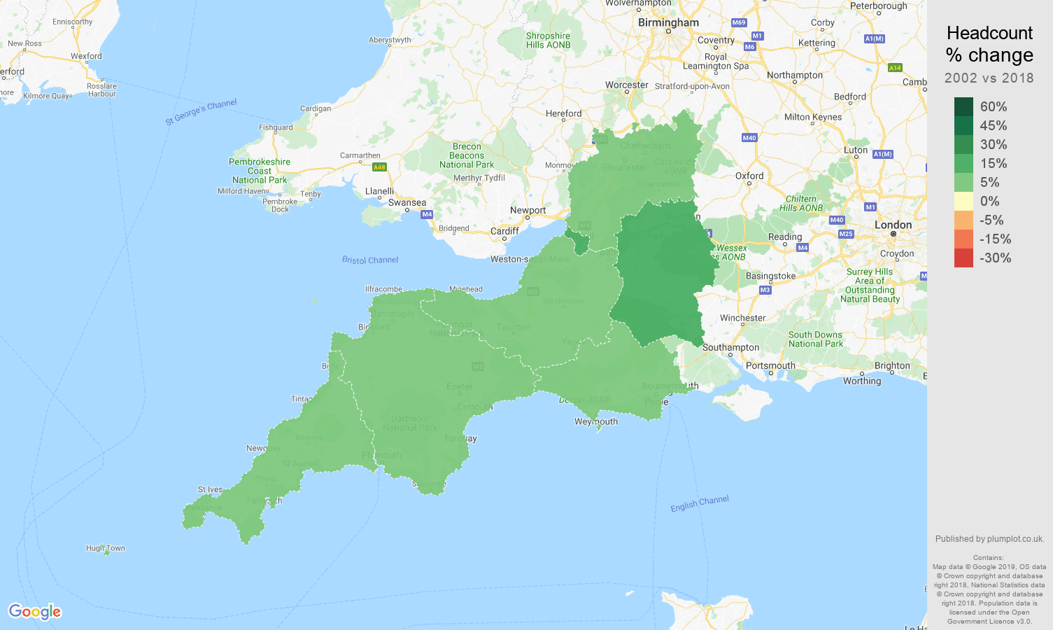 South West headcount change map