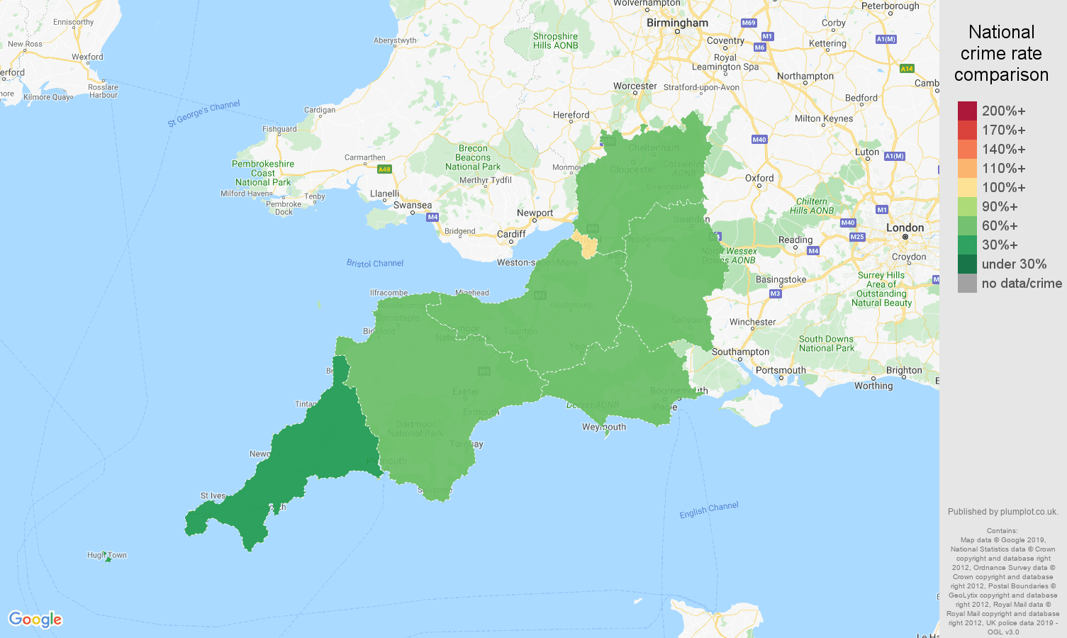 South West other theft crime rate comparison map