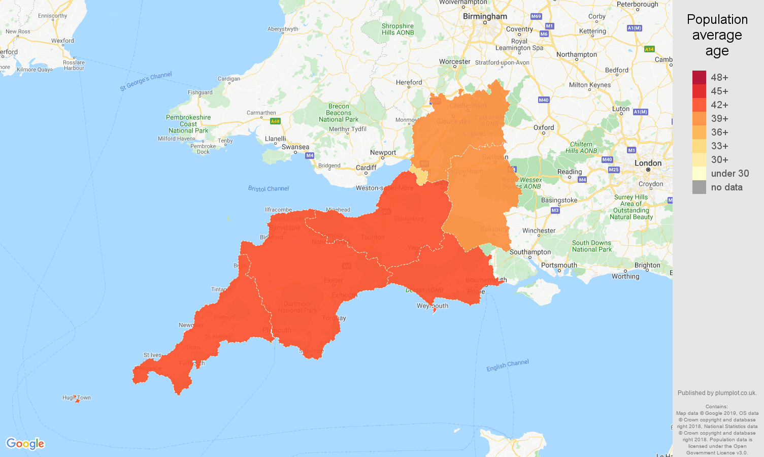 South West population average age map
