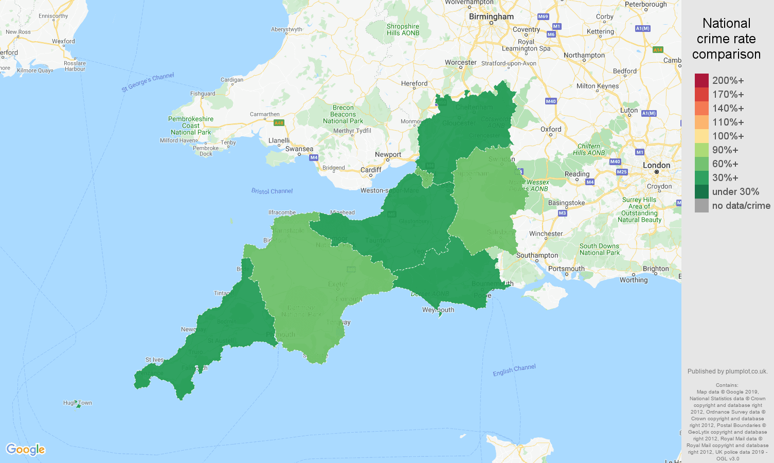 South West possession of weapons crime rate comparison map