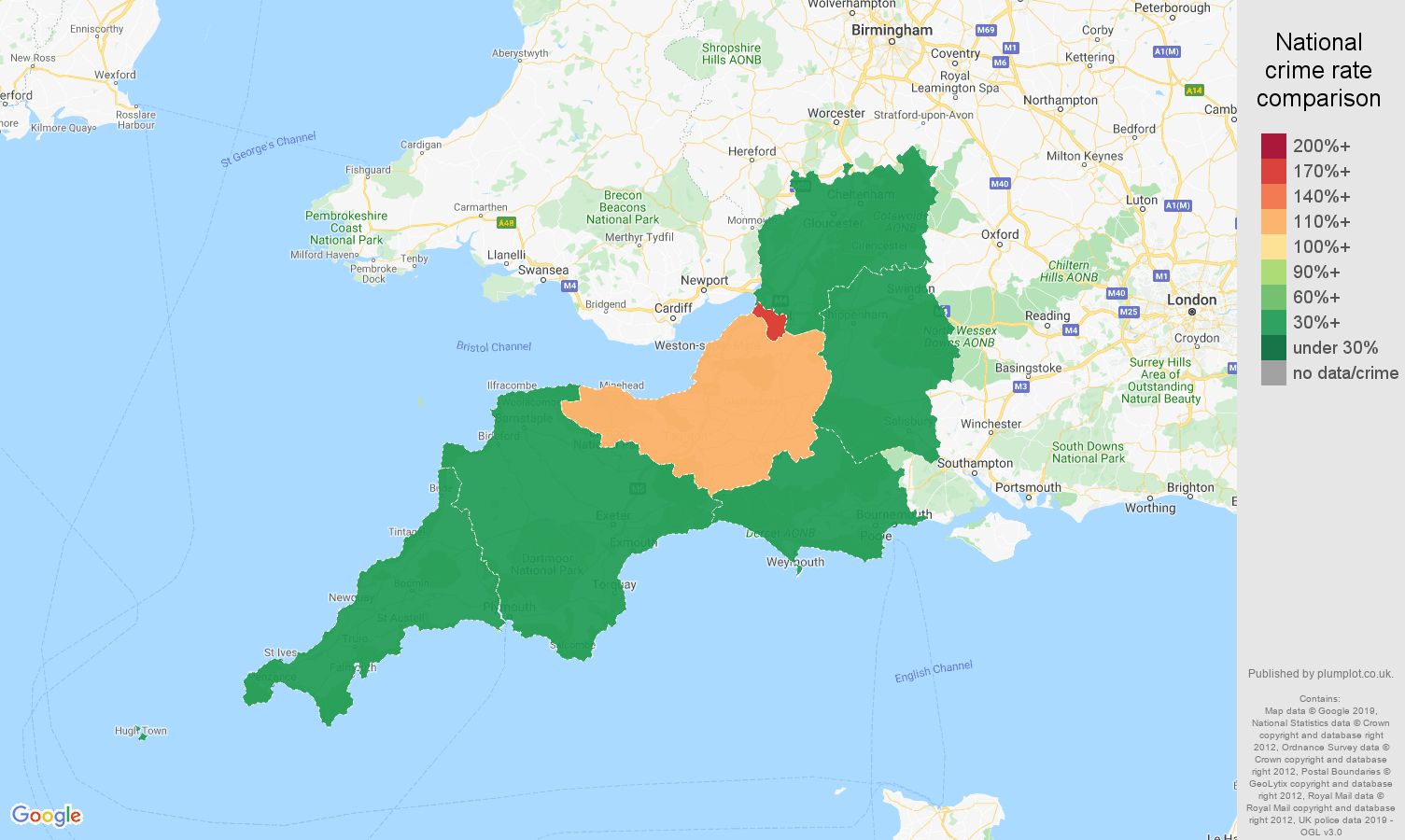 South West public order crime rate comparison map