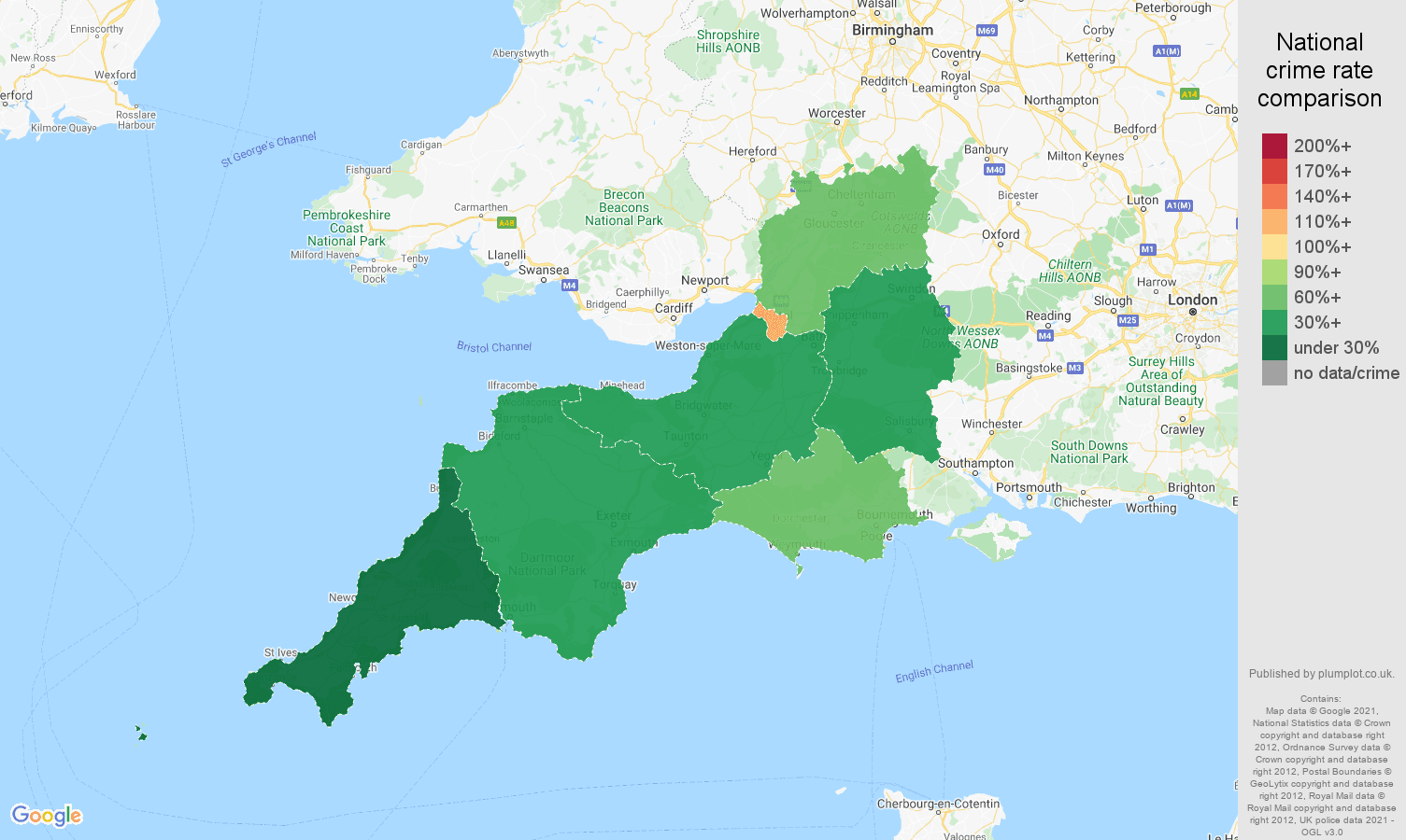 South West vehicle crime rate comparison map