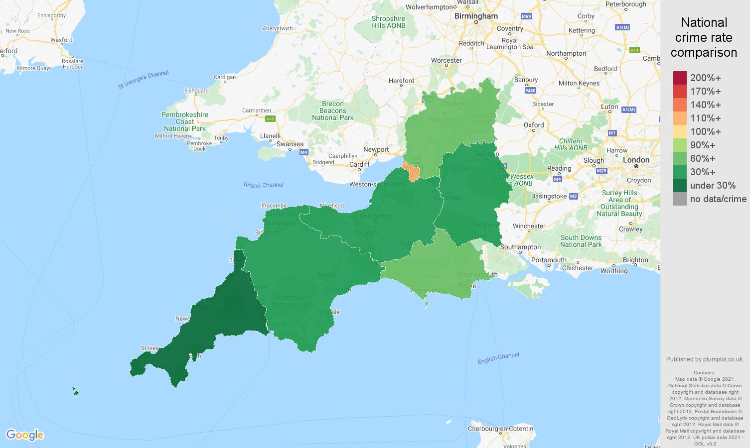 South West vehicle crime rate comparison map