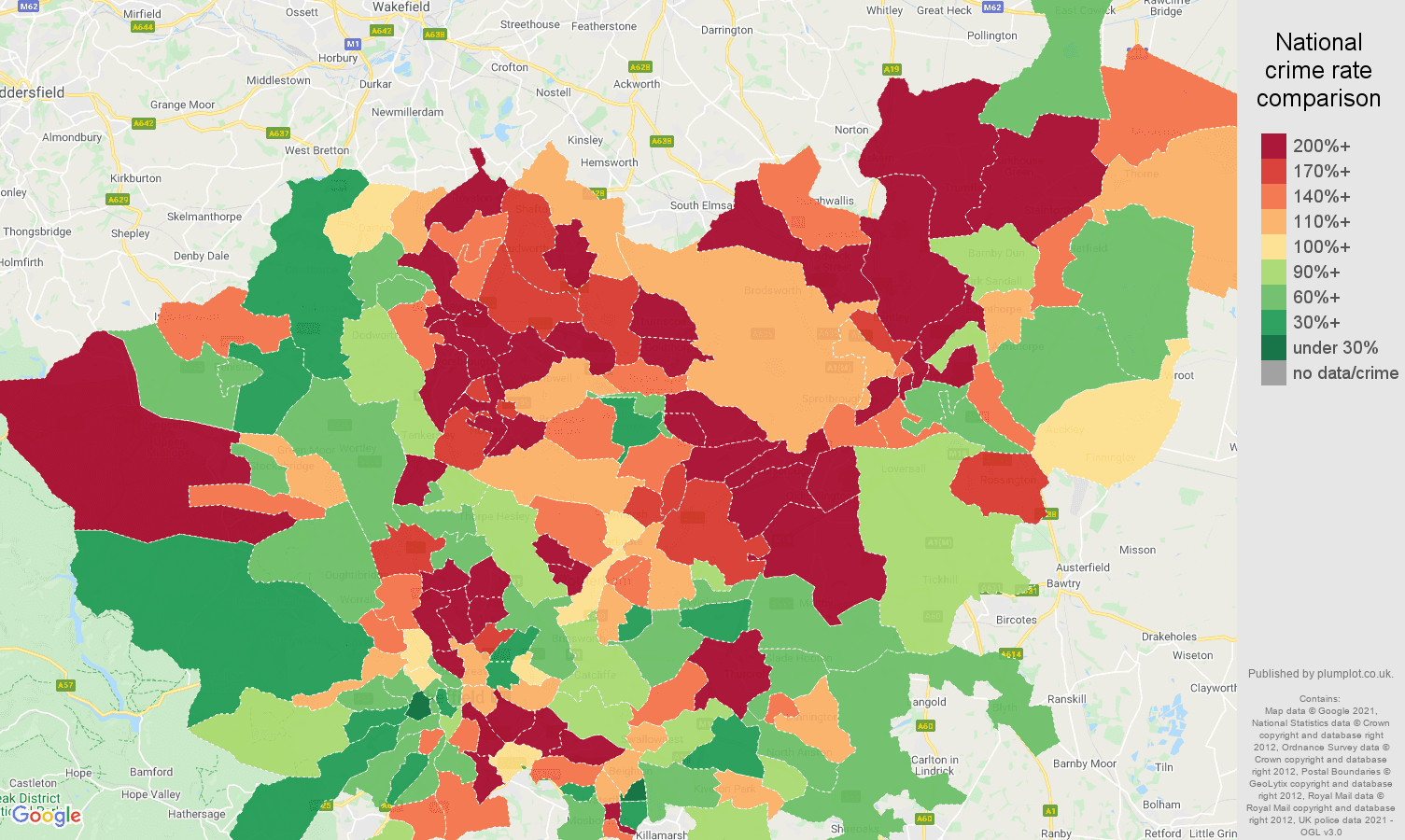 South Yorkshire criminal damage and arson crime rate comparison map