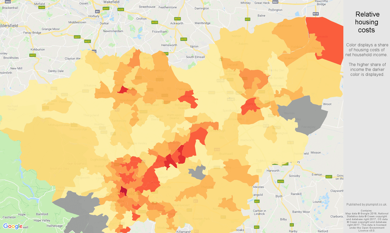 South Yorkshire relative housing costs map