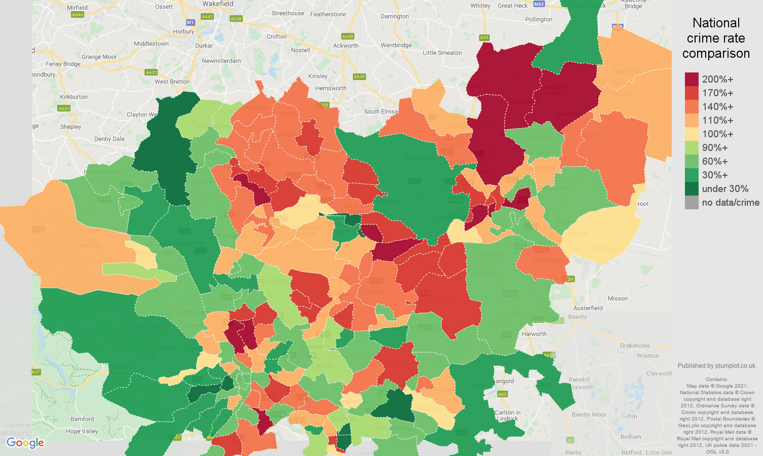 South Yorkshire violent crime rate comparison map