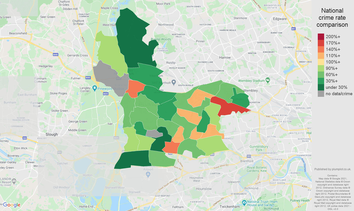 Southall bicycle theft crime rate comparison map