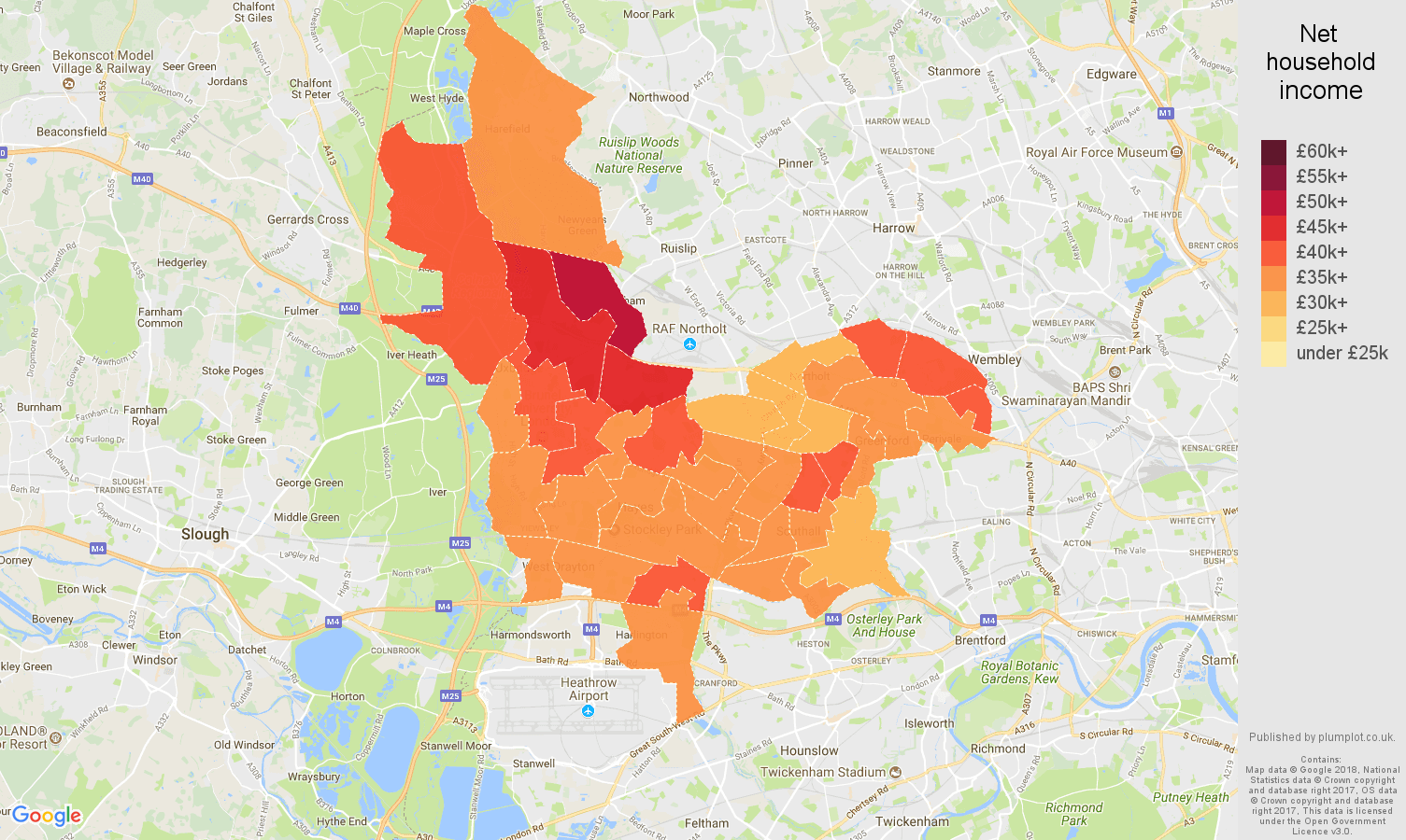 Southall net household income map