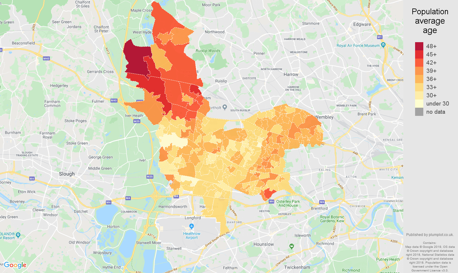 Southall population average age map
