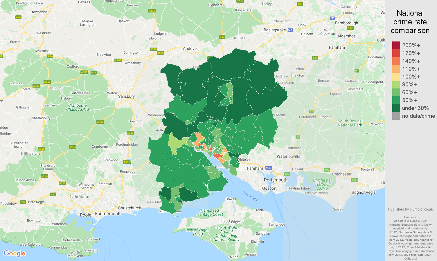Southampton antisocial behaviour crime rate comparison map