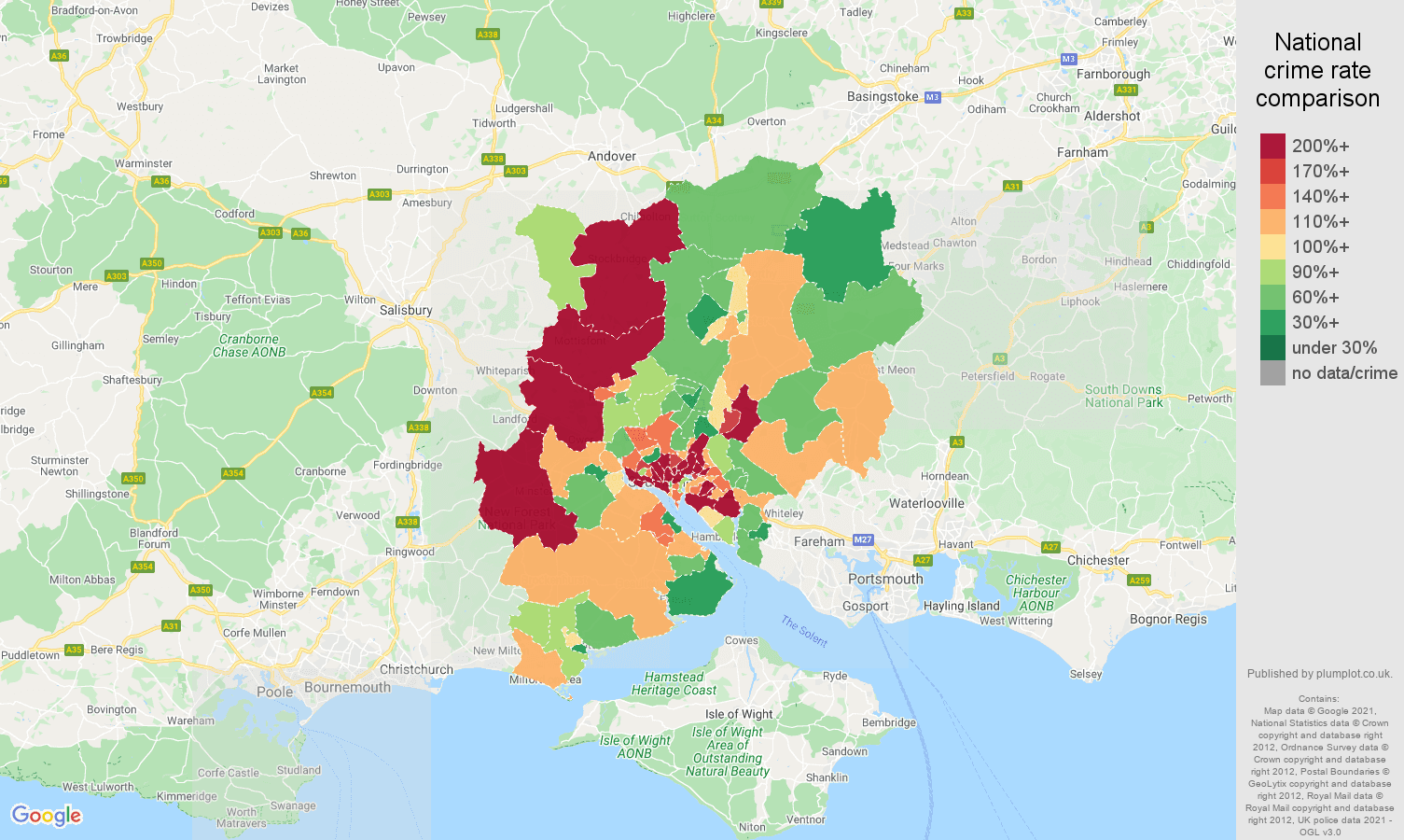 Southampton burglary crime rate comparison map