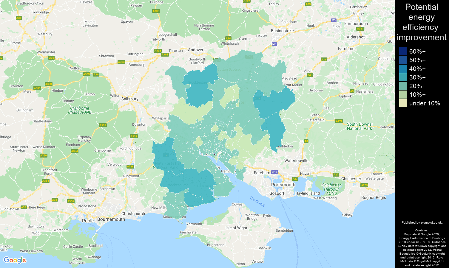 Southampton map of potential energy efficiency improvement of houses