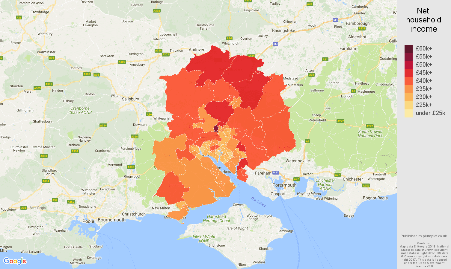 Southampton net household income map