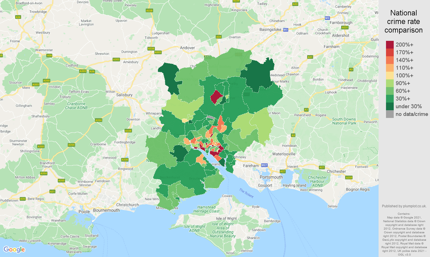 Southampton other crime rate comparison map