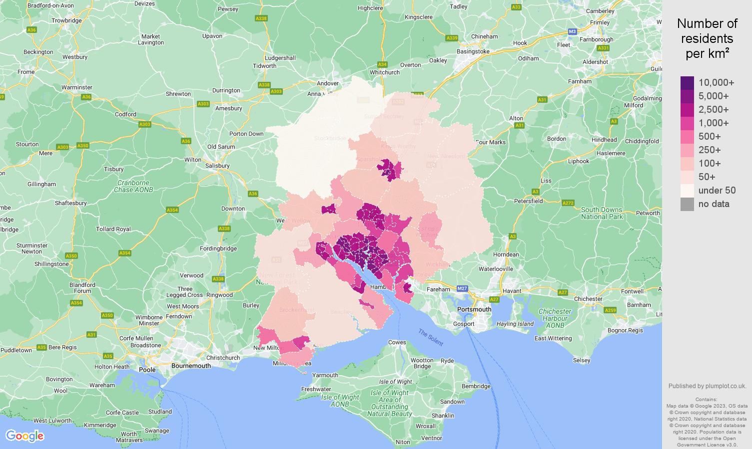 Southampton population density map