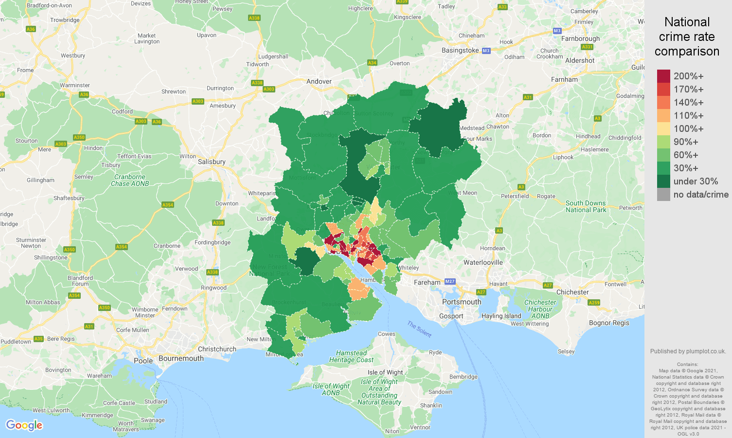 Southampton violent crime rate comparison map