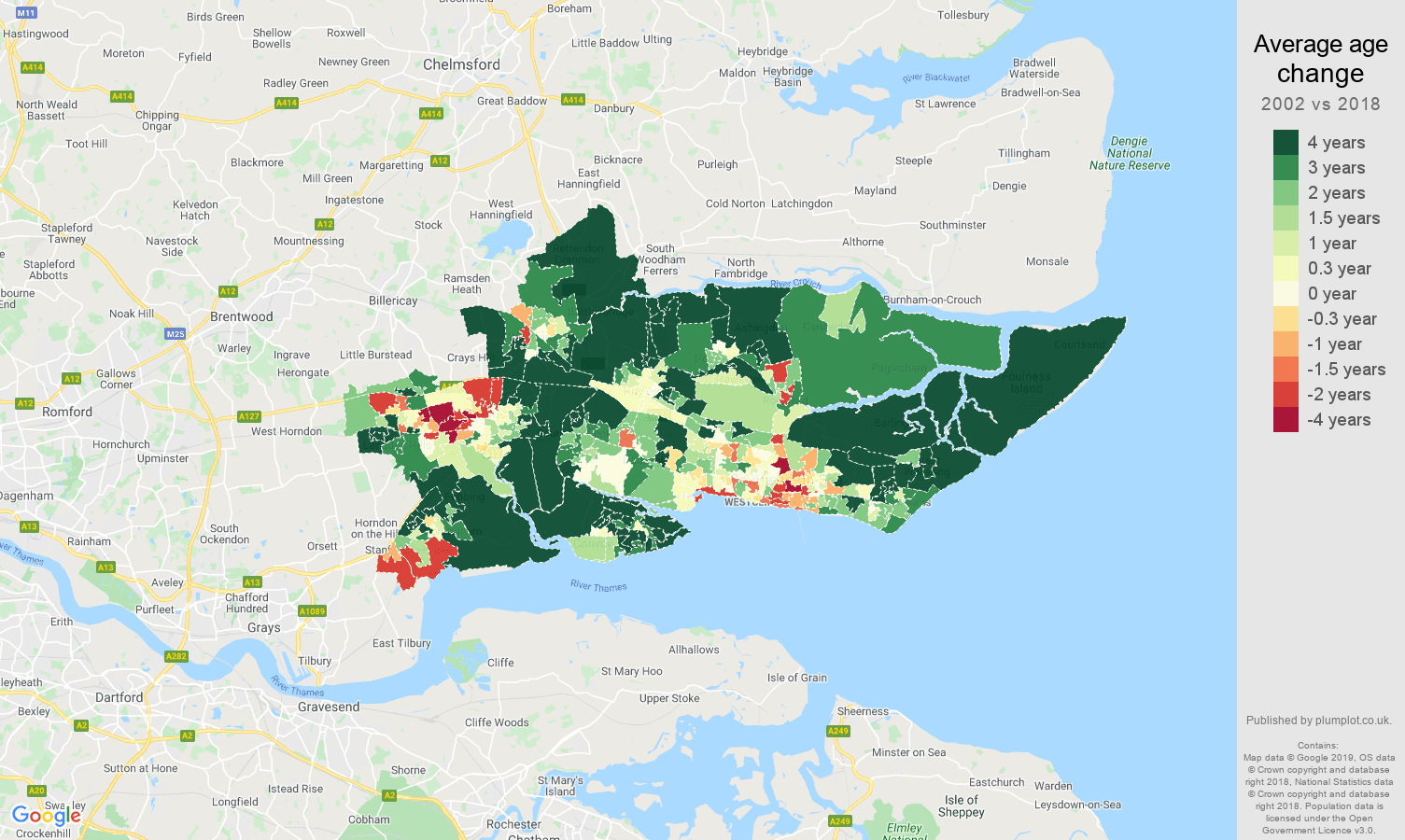 Southend on Sea average age change map
