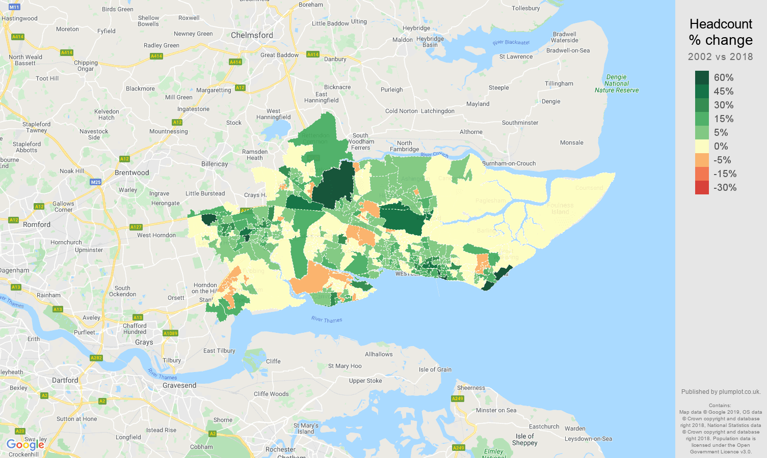 Southend on Sea headcount change map
