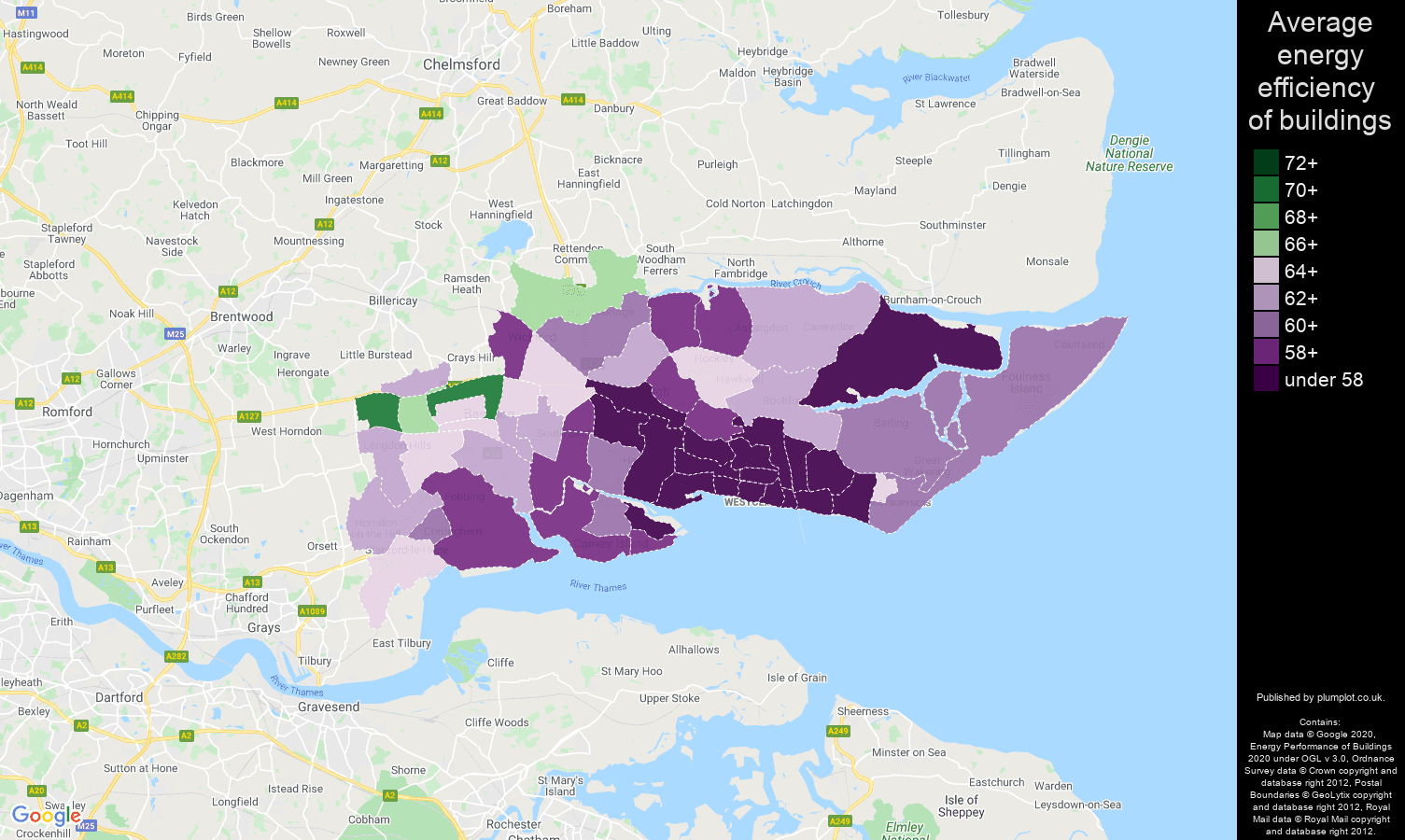 Southend on Sea map of energy efficiency of houses
