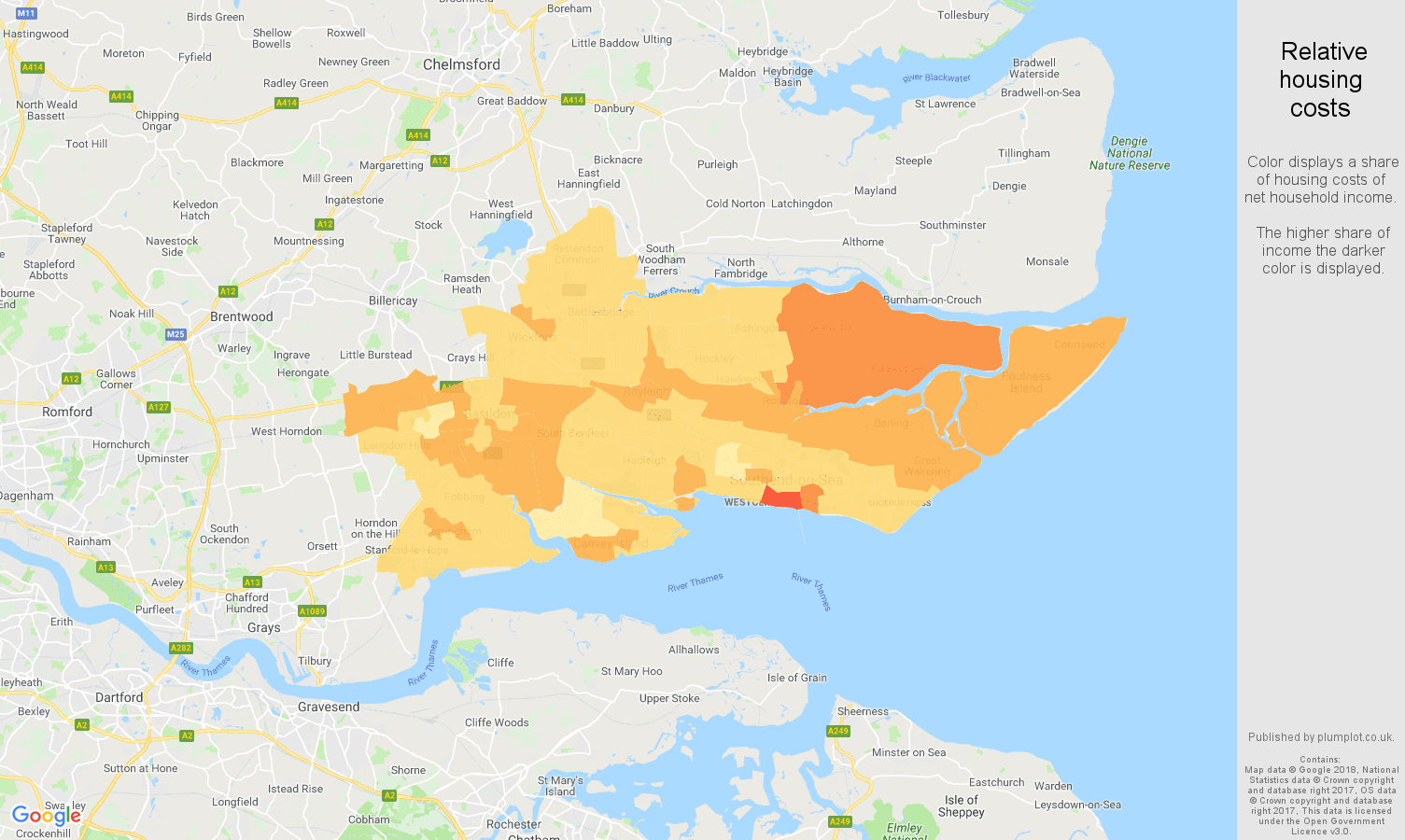 Southend on Sea relative housing costs map