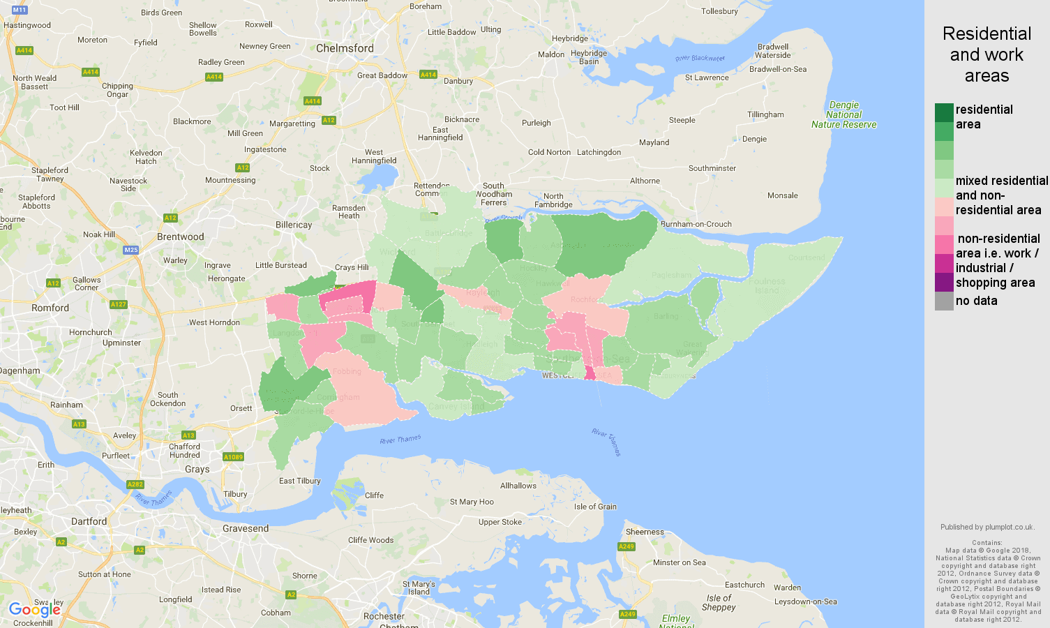 Southend on Sea residential areas map
